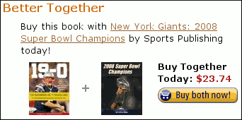 Amazon.com screenshot. For sale: Patriots 19-0 Historic Championship book bundled with NY Giants: 2008 Superbowl Champions